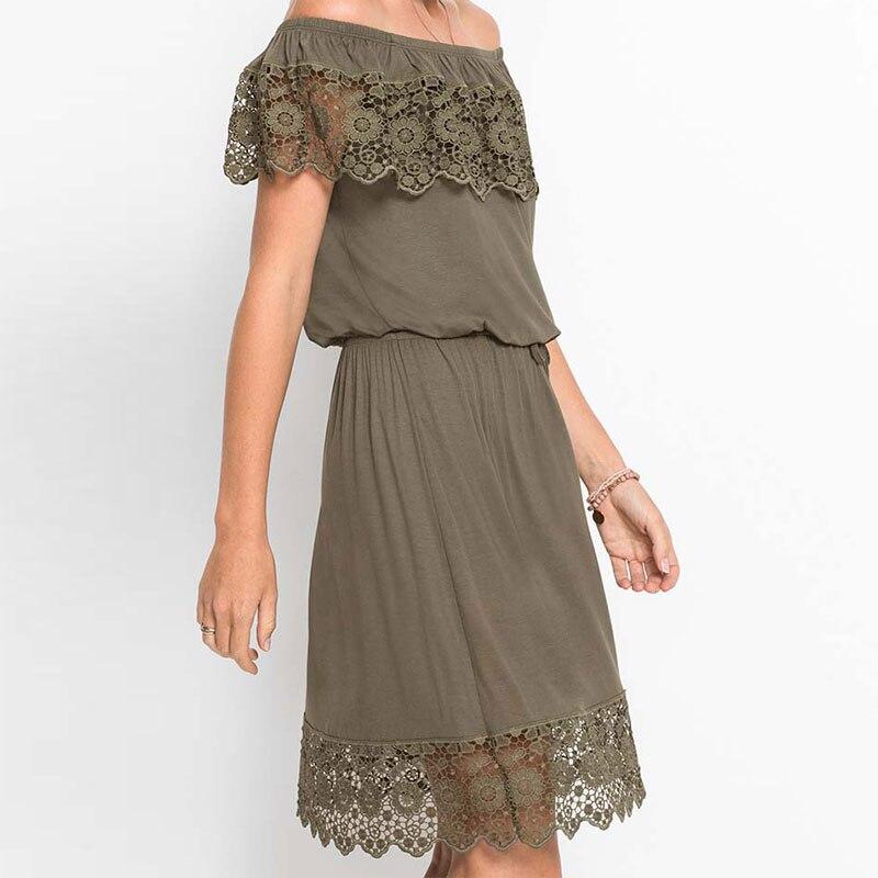 Fashion Women Elegant Vintage Sweet Lace Dress Stylish Sexy Slash Neck Casual Slim Beach Summer Sundress Vestidos 6Q1839