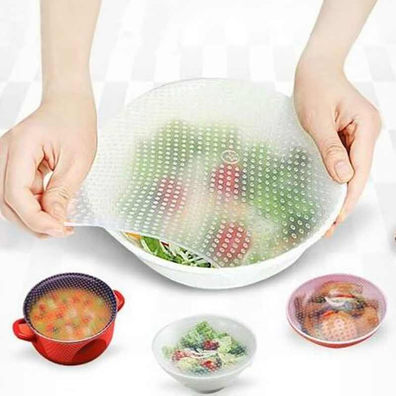 4pcs/lot  Food Fresh Keeping Wrap Lid Cover Kitchen Tools Reusable Silicone Food Wraps High Stretch Seal Vacuum Cover Gadgets