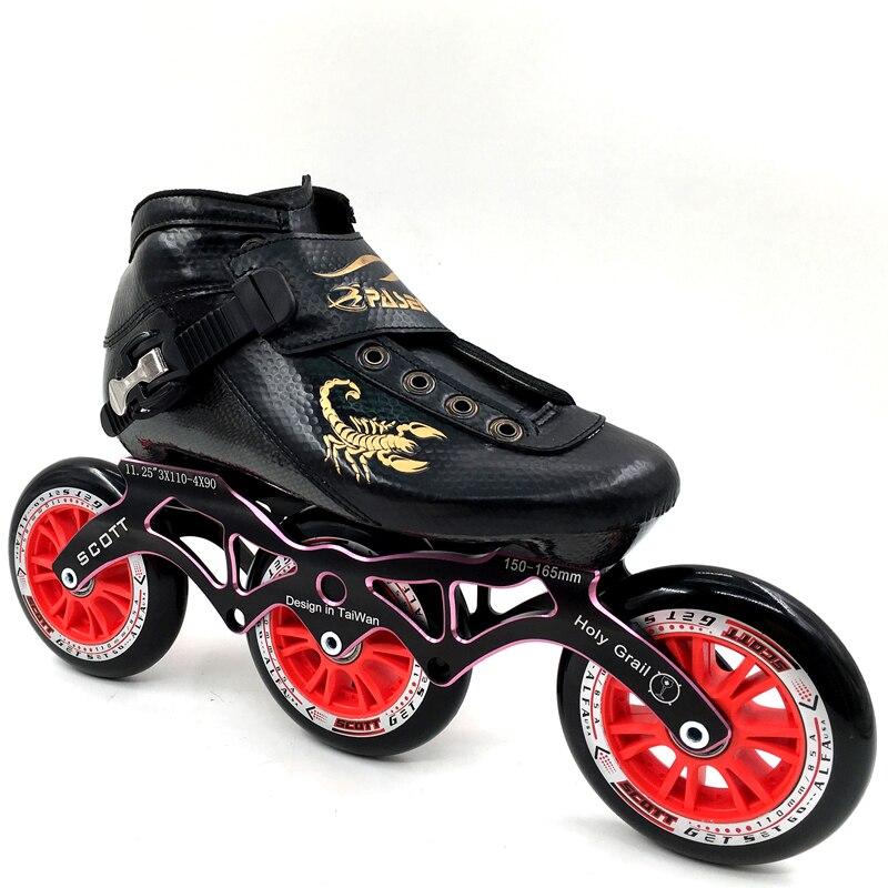Prix pour PASENDI Inline Patins Professionnel Chaussures de Patinage De Vitesse 3 roues Patins à roulettes Débutant Enfants/Adultes de Patins À roulettes Boot