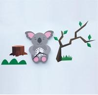 3D Cartoon Wall Clock sticker Cute Koala Modern Silent Clocks For Keep Good Sleeping DIY Wall Clocks Home Decor A2159c