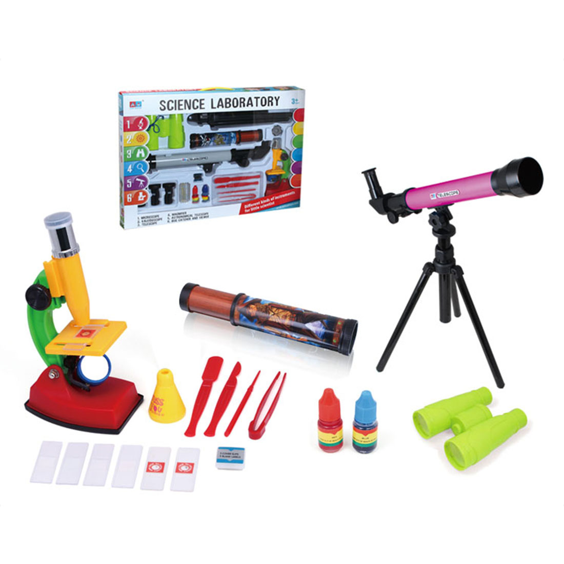 Children Science Explore Educational Toys Small Astronomical Kaleidoscope 150 Times Microscope Telescope Set Student Experiments hy008 microscope telescope