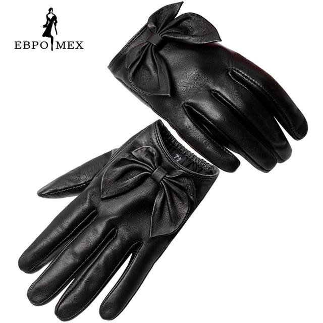 2016 leather gloves,Genuine Leather,Black,red,beige,shirring design female leather gloves,leather winter gloves,women gloves