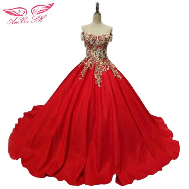 anxin sh prinzessin roter stickerei hochzeitskleid blume spitze hochzeitskleid rose rote. Black Bedroom Furniture Sets. Home Design Ideas