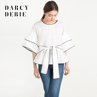 Darcydebie 여름 새로운 여성 블라우스 크루 넥 반 소매 화이트 셔츠 여성 블라우스 셔츠 캐주얼 Blusas