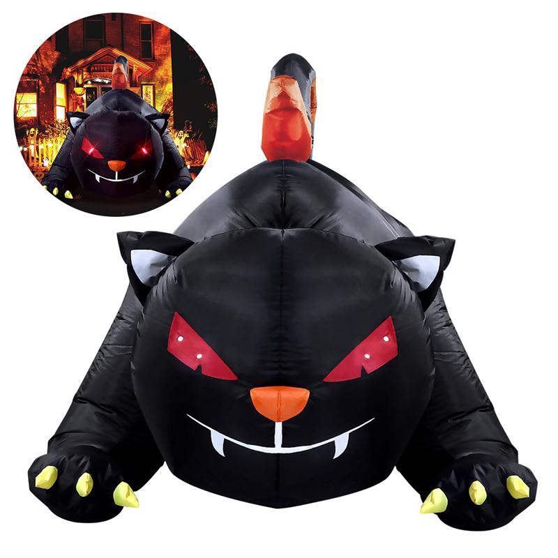 bestoyard 18m halloween inflatable black cat halloween yard party decor with us plugchina - Halloween Cat Decorations