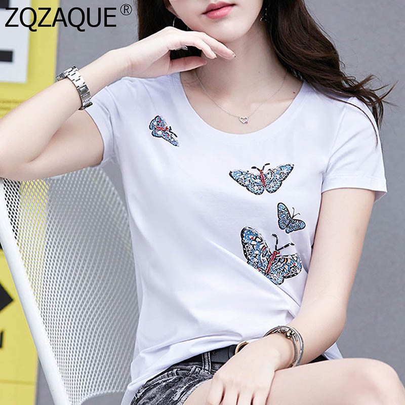 4XL Women T-Shirt O-Neck Short Sleeve Butterfly Pattern Crystal Beading Cotton Tshirt Nice Tops 2019 Spring New Knitted T Shirts