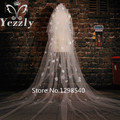 Romantic 3M Cathedral Wedding Veil With Crystal Real Ivory/White Flowers Petals Bridal Veils With Comb Velo De Novia WB55