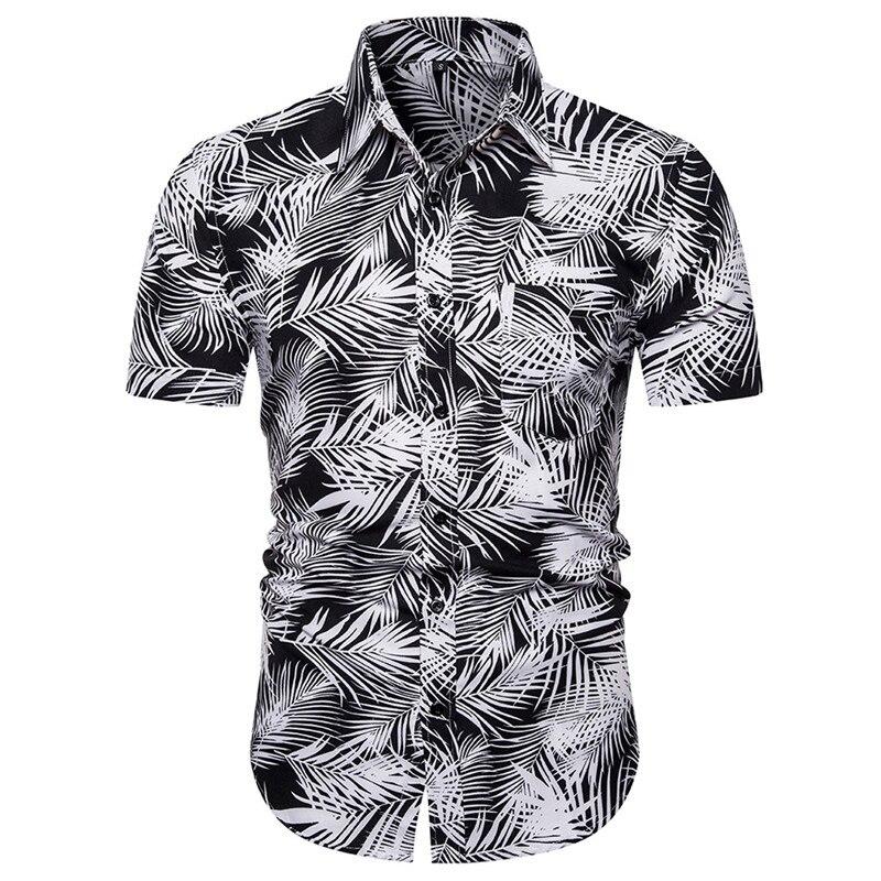 Hawaiian Mens Shirt Summer 2019 Quick Dry Male Blouse Beachwear Printed Short Sleeve Shirt Top Blusa Frio Homem Drop Shipping C