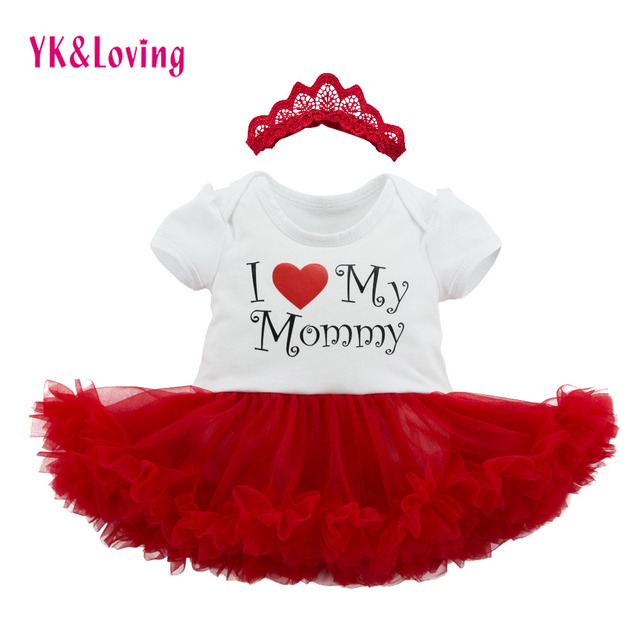 Mothers Day Baby Girl Clothes with Letter Print Shortsleeve Toddler Romper with Hollow Out Headband Lovely Infant Princess Dress