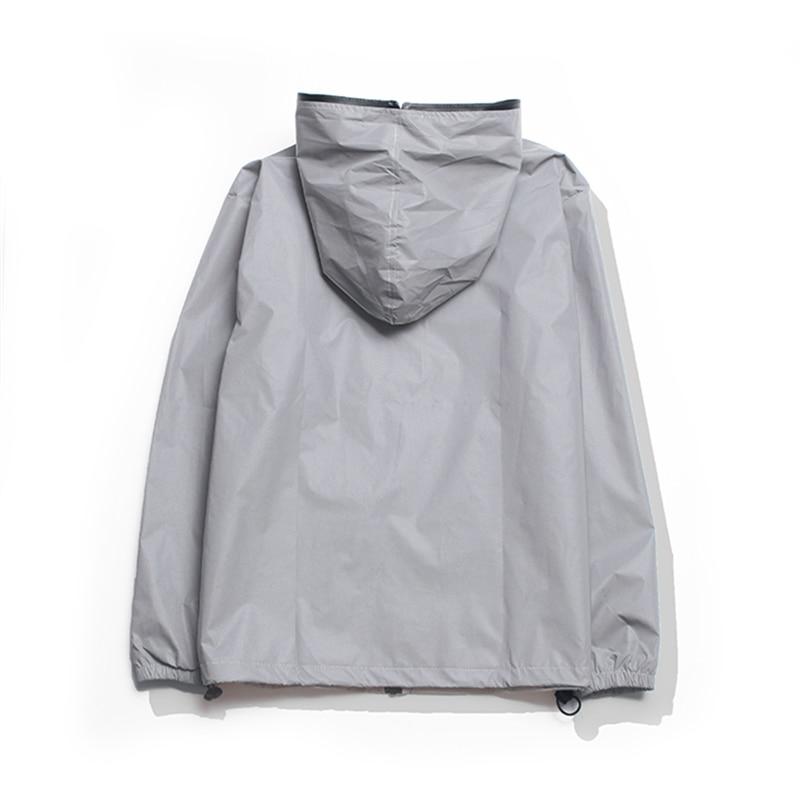 Plus Size 4XL Men Spring Autumn full reflective Windbreaker waterproof Jacket male High street hip hop Loose Hooded Coats 9