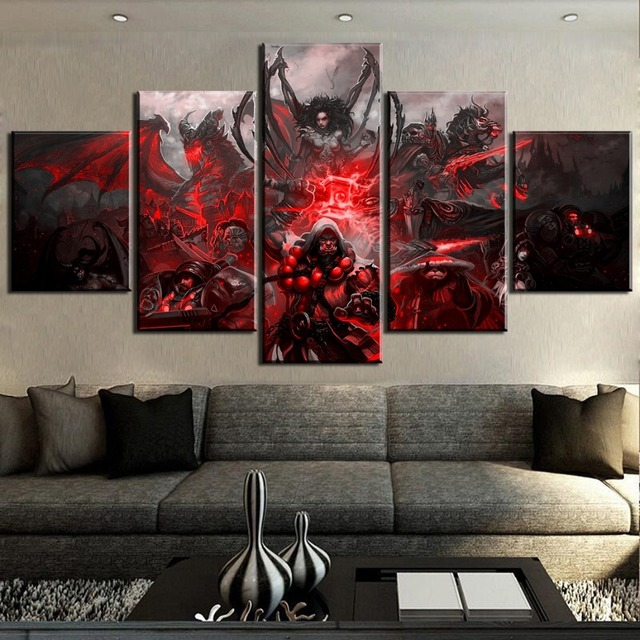 HD Print 5 Piece World of Warcraft Game Poster Painting Canvas Wall Art Picture Home Decoration Living Room Canvas Painting 1