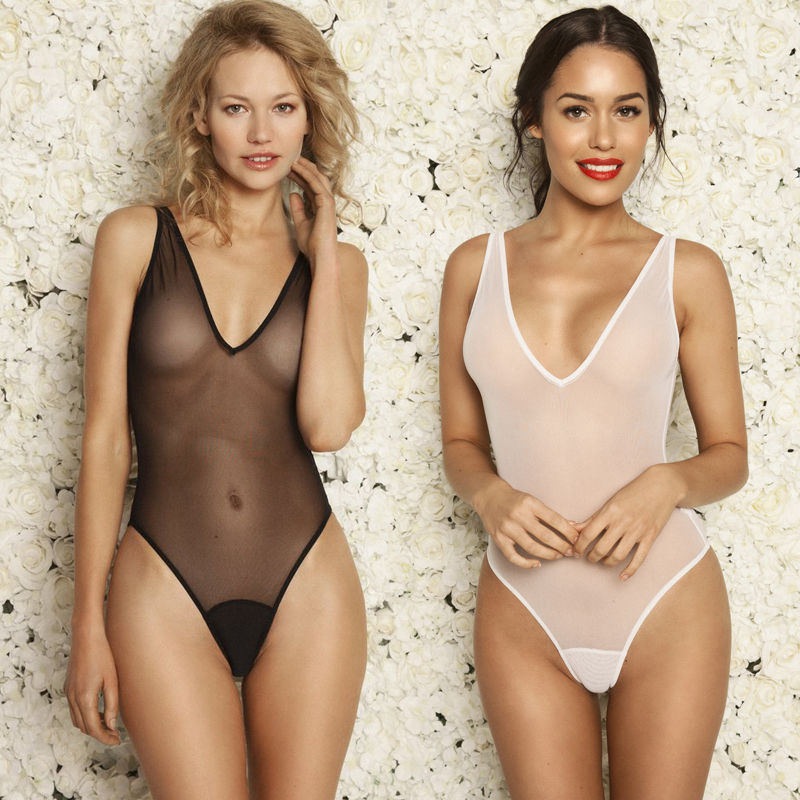 Transparent One-Piece Suits Women Black Plunge Neck Solid Sheer Mesh Bodysuit Leotard Lingerie Romper Top