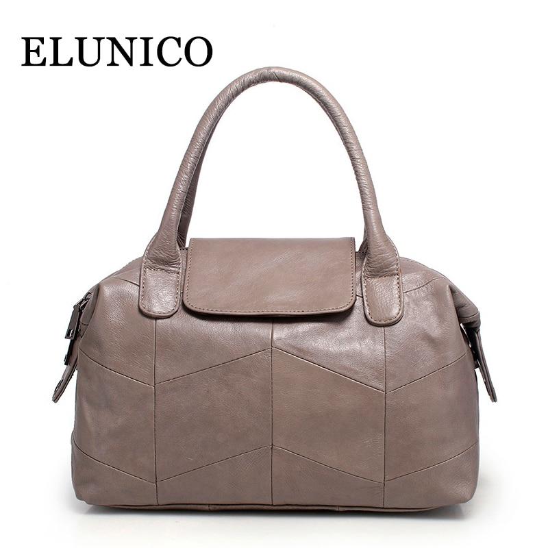 ELUNICO Genuine Leather Women Handbag Simple Fashion Casual Soft Shopping Shoulder Bag Handbag Female Dumplings Messenger Bags цена