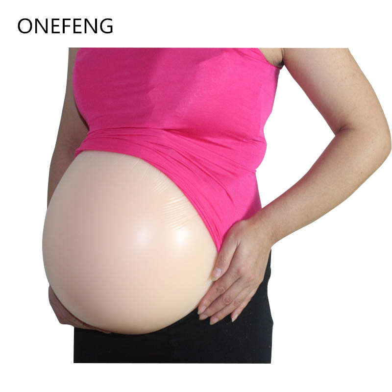 Free Shipping ONEFENG 100% Silicone Artificial Belly Fake Pregnant Belly for Man Woman Actor Factory Direct Supply 4000-4600g/pc hot sale 7 8 months 2500g l size artificial pregnant silicone fake belly false jelly tummy for cross dress women men actor