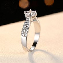 Engagement Ring Women 2ct CZ Stone 16 Hearts Arrows Romantic Gift Genuine 925 Sterling Silver Jewelry Prong Settings