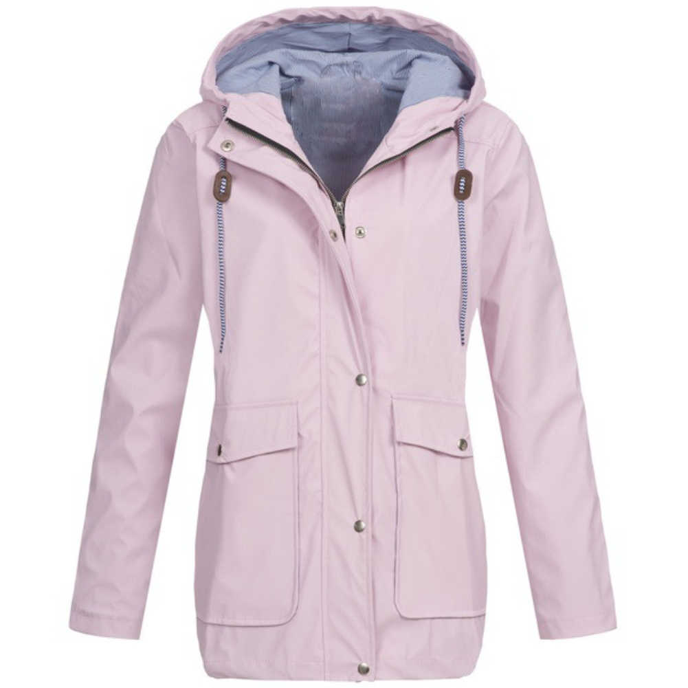 3ed3f8decb Outdoor Waterproof Windproof Solid Color Hooded Rain Jacket Women Wind Coat