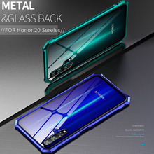 Luxury Metal Bumper Case For Huawei Honor 20 360 Shockproof Clear Glass Back Cover 20i 20Lite coque Pro