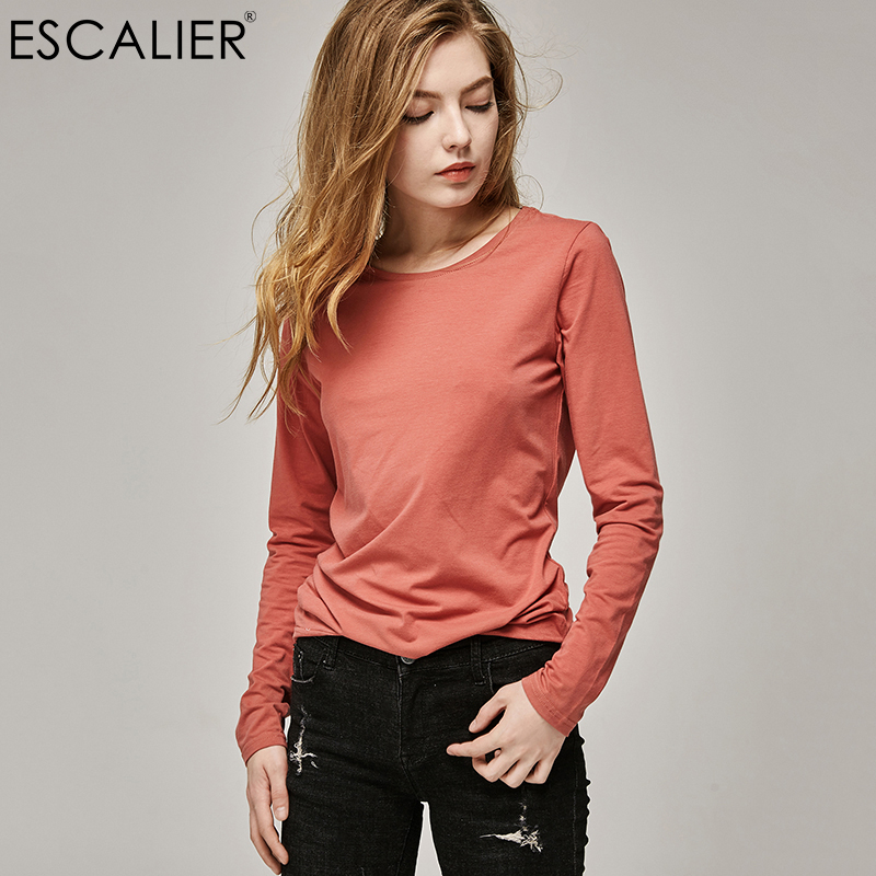 ESCALIER T-Shirts 2020 Autumn and winter Women cotton T-Shirt Solid Color Loose Base Casual Long Sleeve O-Neck Tees Tops(China)