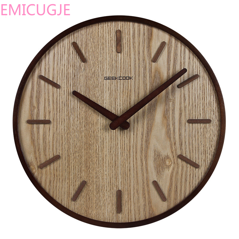 Room Bedroom Simple Modern Decoration Hanging Watch Wooden Quartz Clock Circular 14-inch Japanese Home Quiet Clock Living