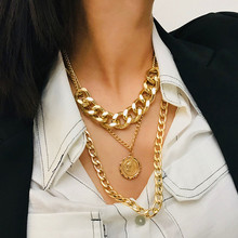 Punk exaggerated metal chain item simple texture Queen relief pendant necklace Long section multi-layer Sweater jewelry