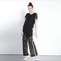 Brand Woman Vintage Runway Designers 2018 Clothes Bohemian Summer Piece Set Hollow Out Black Lace Top