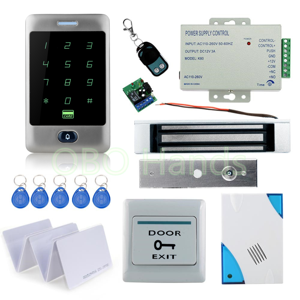 High Quality Rfid Lock access control system kit set Access Control waterproof touch keypad+180KG EM lock+power supply+remote diysecur magnetic lock door lock 125khz rfid password keypad access control system security kit for home office