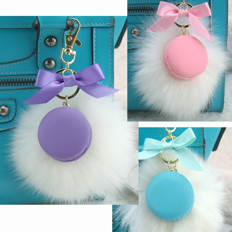 Round Key Chain France Macarons Keychains Rabbit Real Fur Ball Key - Fashion Jewelry - Photo 1