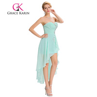 Grace Karin Short Front Long Back Evening Dress Pale Turquoise Chiffon Sweetheart Evening Gown Sequined Party Prom Dress 2017