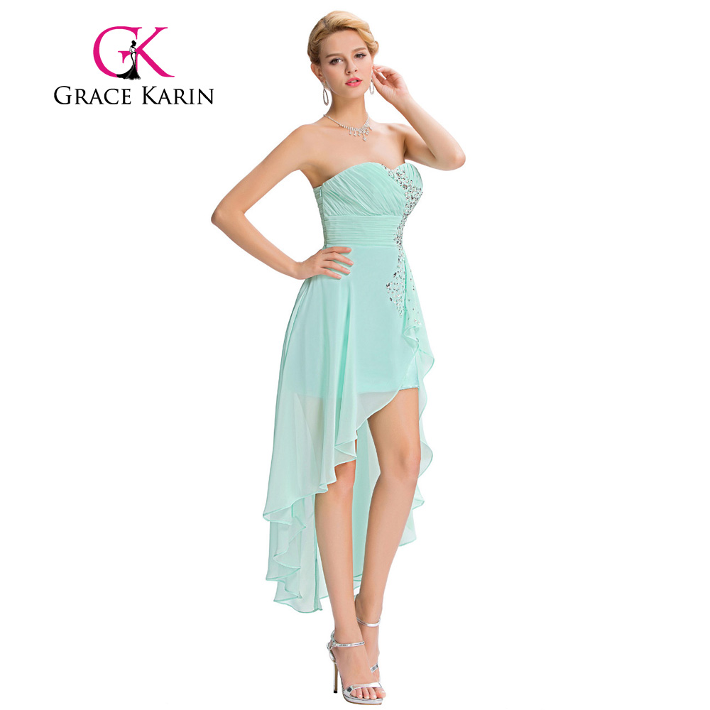 Grace Karin Short Front Long Back Evening Dress Pale Turquoise ...