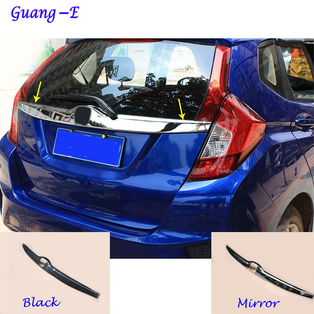 For Honda Fit jazz 2014 2015 2016 2017 car cover ABS Chrome Rear License Plate door bottom tailgate frame plate trim lamp 1pcs car rear trunk security shield cargo cover for honda fit jazz 2014 2015 2016 2017 high qualit black beige auto accessories