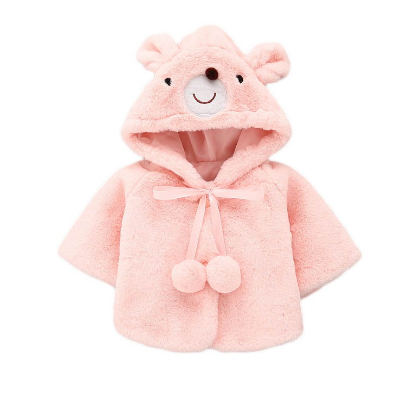 2017 Fashion Baby Girls Solid Color Jacket Winter Warm Faux Fur Coat For Girl Cute Hooded Thick Cloak Coat Winter Warm J2