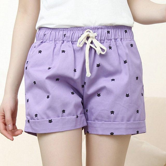 Summer 100% Casual Candy Color Cotton Women Shorts Female Sweet Mid Waist Plus Size Print Beach Casual Short Trousers