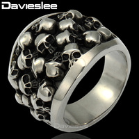 Heavy Gothic Punk Black Silver Tone Horror Skulls 316L Stainless Steel Mens Ring Gift Promotion Wholesale
