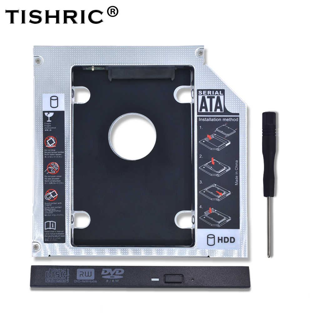 TISHRIC 2018 aluminium 2nd HDD Caddy 12.7mm SATA 3.0 CD DVD do dysku twardego do 2.5 ''SSD dysk twardy obudowa CD-ROM Optibay