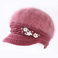 Winter New Lady Pearl Flower Rabbit Hair Hat Solid Color Warm Knitted Wool Berets