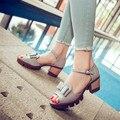 Moda feminina sandálias de verão 2016 sapatos femininos de alta sandálias de salto grosso sapatos femininos plataformas sapato dedo aberto grande tamanho 34 - 43