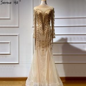 Image 1 - Dubai Design Long Sleeves Luxury Evening Dresses 2020 Gold Beading Tassel Evening Dress Long Real Photo LA60780