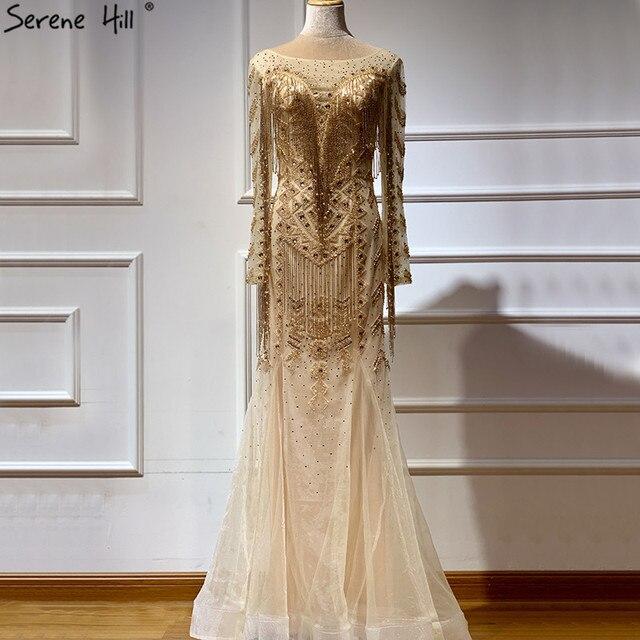 Dubai Design Long Sleeves Luxury Evening Dresses 2020 Gold Beading Tassel Evening Dress Long Real Photo LA60780