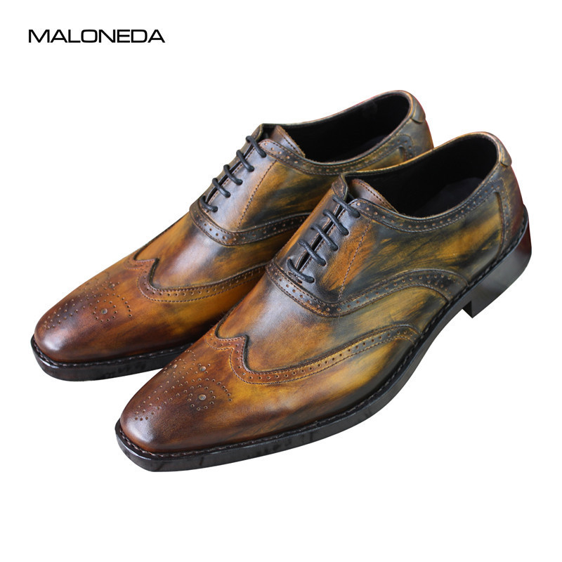 MALONEDA Bespoke Italy Style Mixed Color Genuine Cow Leather Oxfords Handmade Goodyear Brogue Formal Dress Shoes For MaleMALONEDA Bespoke Italy Style Mixed Color Genuine Cow Leather Oxfords Handmade Goodyear Brogue Formal Dress Shoes For Male