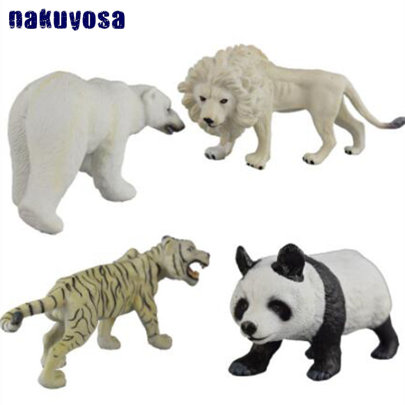 4 pcs set Wild Animal Tiger Panda Lion Polar Bear Model Toy PVC Plastics Simulation Solid Animal Children Toys Ornaments Gifts easyway zoo mini wild animals action figures set figurines kids toys for children wildlife toys simulation animal model toy bear