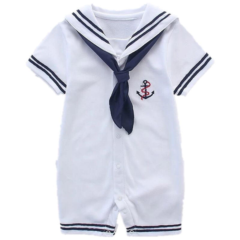 Baby Sailor Rompers 2017 Summer Fashion Navy Style One-pieces Jumpsuit White Infant Kids Clothing Newborn Baby Girl Boy Romper summer 2017 navy baby boys rompers infant sailor suit jumpsuit roupas meninos body ropa bebe romper newborn baby boy clothes