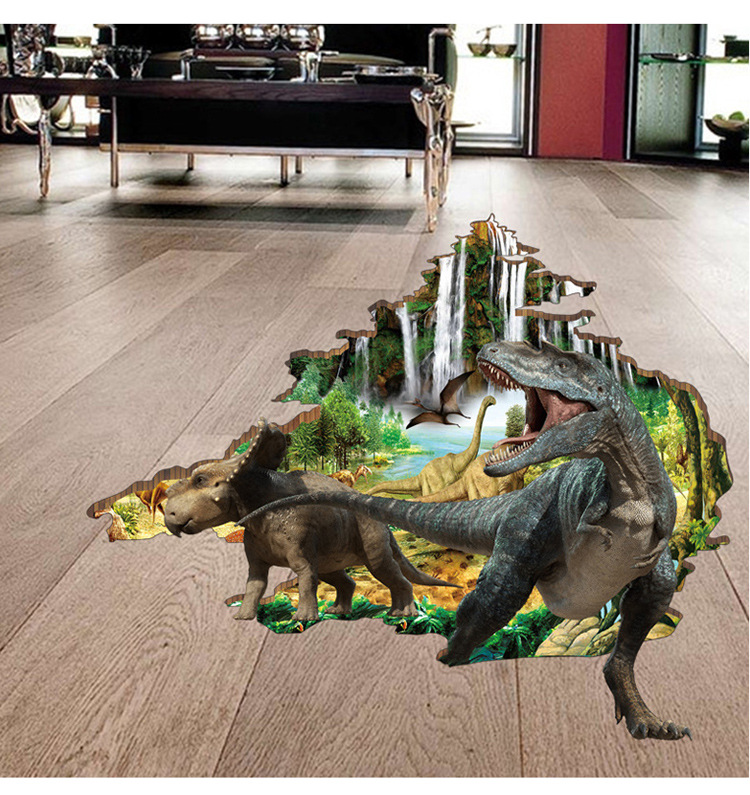 3D Three-Dimensional Wallpapers StickerWholesale Creative Children's Room Decorative Wall Sticker Bedroom Boy Dinosaur Wallpaper