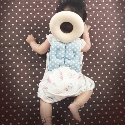 Baby Head Protection Pad  Toddler Head Pillow  Baby Cute Wings Drop Pad Summer Grid Model