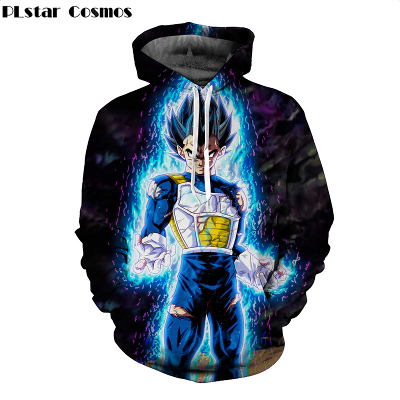 PLstar Cosmos 2018 New Brand hoodie Anime Dragon Ball Z Vegeta 3d Print Mens Hoodies Harajuku Style Casual Homme hoodies
