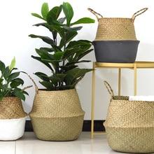 식물을위한 고리 버들 바구니 Foldable 자연 짠 씨 그래스 배꼽 보관 바구니 위커 등나무 바구니 꽃 냄비 세탁 바구니