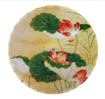 Free shipping Dia 84cm colorful lotus painting pictures chinese unique handmade cosplay parasol women gift oiled paper umbrella