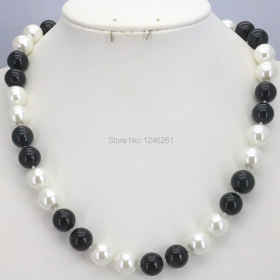 ①Hot Sale Christmas Gifts Girls 10mm White&Black Glass Pearl Beads ...