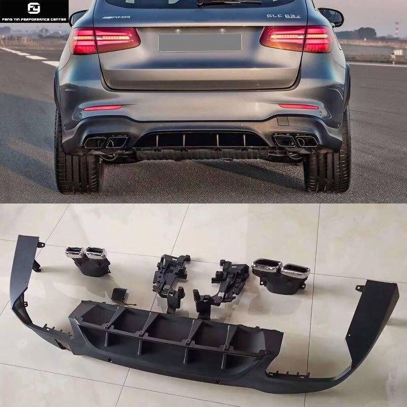 W253 GLC300 GLC63 AMG стиль ПП задний бампер диффузор выхлопные трубы для Mercedes Benz W253 GLC260 Комплект кузова