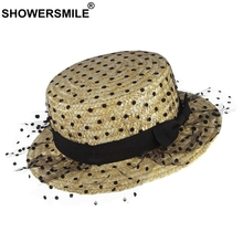 SHOWERSMLIE Sun Hats For Women Organdy Polka Dot Ladies Straw Hat Bow Summer Lace Mesh Wheat Straw Female Beach Hats And Caps
