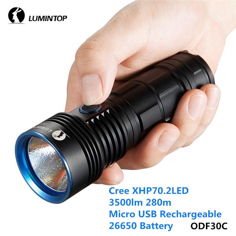 LuminTop ODF30C XHP 26650 3500lm Cree Recarregável Holofote de Alta Intensidade Lanterna de Acampamento Caminhadas Ao Ar Livre com Strobe SOS